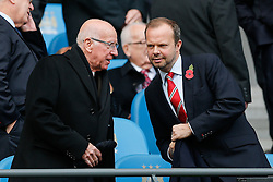 Sir Bobby Charlton and executive vice-chairman of Manchester United Ed Woodward take their seats in the stand - Photo mandatory by-line: Rogan Thomson/JMP - 07966 386802 - 02/11/2014 - SPORT - FOOTBALL - Manchester, England - Etihad Stadium - Manchester City v Manchester United - Barclays Premier League.