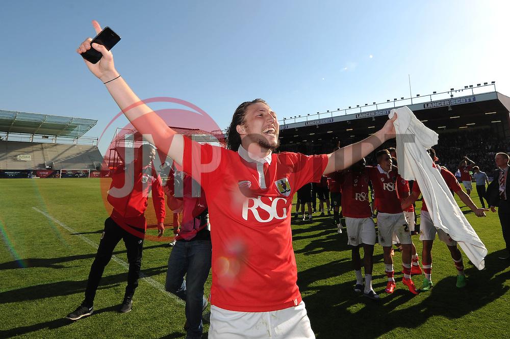 Bristol City's Luke Ayling celebrates as Bristol City win the league - Photo mandatory by-line: Dougie Allward/JMP - Mobile: 07966 386802 - 18/04/2015 - SPORT - Football - Bristol - Ashton Gate - Bristol City v Coventry City - Sky Bet League One