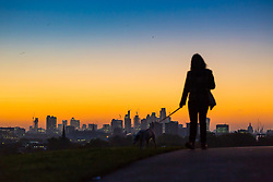 London, October 27 2017. A dog walker is thrown into silhouette against the early morning light as the day breaks over London's skyline, seen from Primrose Hill. © Paul Davey