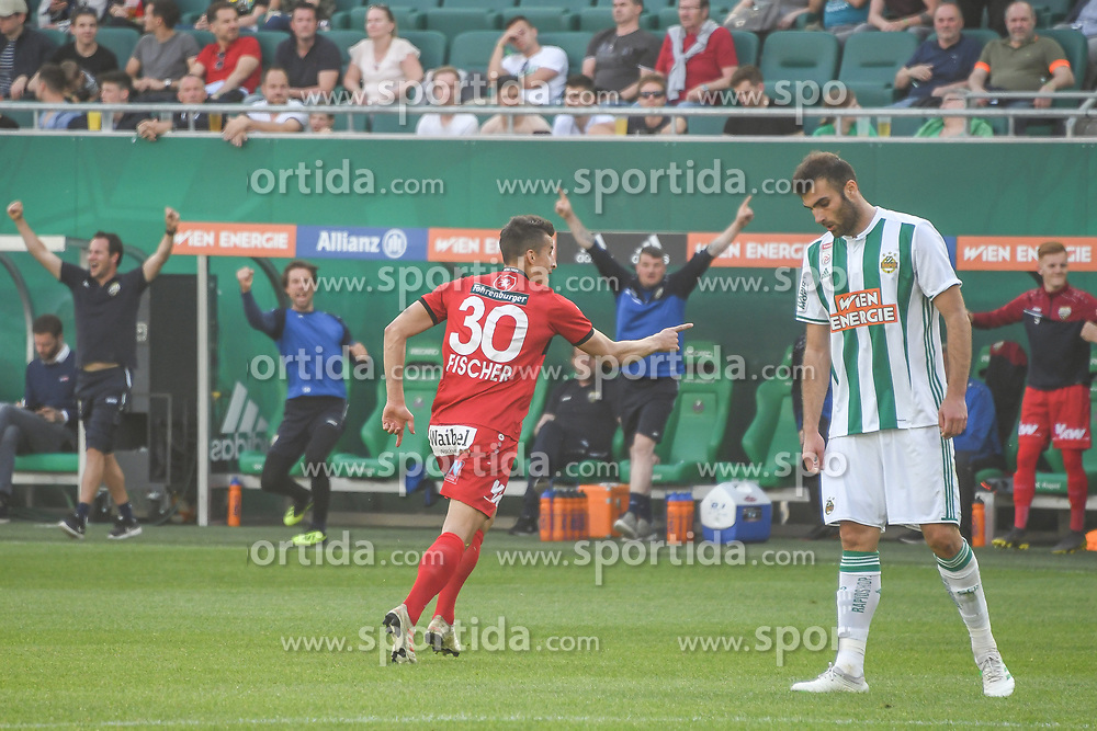 25.05.2019, Allianz Stadion, Wien, AUT, 1. FBL, SK Rapid Wien vs Cashpoint SCR Altach, Qualifikationsgruppe, 32. Spieltag, im Bild 0:2 durch Manfred Fischer (SCR Altach) // during the tipico Bundesliga qualification group 32nd round match between SK Rapid Wien and Cashpoint SCR Altach at the Allianz Stadion in Wien, Austria on 2019/05/25. EXPA Pictures © 2019, PhotoCredit: EXPA/ Lukas Huter