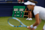 The scoreboard shows Jana Cepelova of Slovakia 5-3 up during the Women's Singles Quarter Final at the Fuzion 100 Ilkley Lawn Tennis Trophy Tournament held at Ilkley Lawn Tennis and Squad Club, Ilkley, United Kingdom on 19 June 2019.
