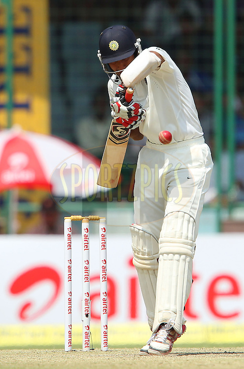 Cheteshwar Pujara of India during day 2 of the 4th Test Match between India and Australia held at the Feroz Shah Kotla stadium in Delhi on the 23rd March 2013..Photo by Ron Gaunt/BCCI/SPORTZPICS ..Use of this image is subject to the terms and conditions as outlined by the BCCI. These terms can be found by following this link:..http://www.sportzpics.co.za/image/I0000SoRagM2cIEc