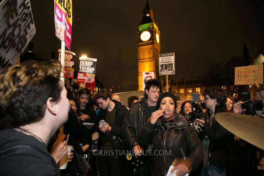 Anti Trump rally in Parliament Square, February 20th 2017, London, United Kingdom.