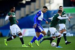 Jonson Clarke-Harris of Bristol Rovers is challenged by Plymouth Argyle - Mandatory by-line: Ryan Hiscott/JMP - 01/12/2019 - FOOTBALL - Memorial Stadium - Bristol, England - Bristol Rovers v Plymouth Argyle - Emirates FA Cup second round