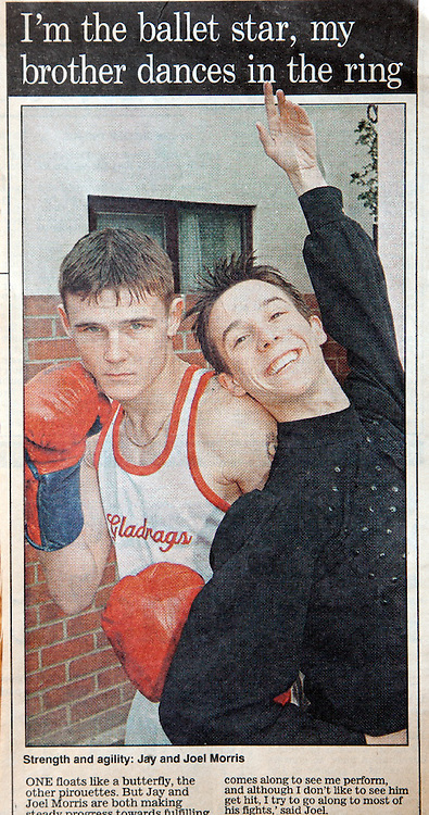 Ballet Dancer and Boxer Brothers. Jay and Joel Morris. Daily Mail.