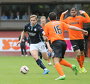 Dundee's Greg Stewart runs at Dundee United's Ryan McGowan - Dundee United v Dundee at Tannadice Park in the SPFL Premiership<br /> <br />  - &copy; David Young - www.davidyoungphoto.co.uk - email: davidyoungphoto@gmail.com