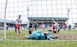 Falkirk's Bob McHugh cele scoring their second goal. <br /> Raith Rovers 2 v 2 Falkirk, Scottish Championship game played 23/4/2016 at Stark's Park.