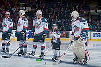 KELOWNA, CANADA - JANUARY 28: Devante Stephens #21, Nolan Foote #29, Lucas Johansen #7, the pepsi player and Michael Herringer #30 of the Kelowna Rockets line up against the Portland Winterhawks on January 28, 2017 at Prospera Place in Kelowna, British Columbia, Canada.  (Photo by Marissa Baecker/Shoot the Breeze)  *** Local Caption ***