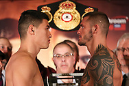 March 8, 2019; Verona, NY, USA; WBA light heavyweight champion Dmitry Bivol and Joe Smith Jr. pose after weighing in for their bout at the Turning Stone Resort and Casino in Verona, NY.  Mandatory Credit: Ed Mulholland/Matchroom Boxing USA