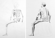 Graphite drawing of a posed human skeleton and male model.