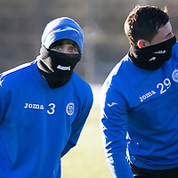 St Johnstone Training....19.01.15<br /> Tam Scobbie and Michael O'Halloran pictured during training at a freezing McDiarmid Park this morning ahead of tomorrow night's game at Inverness.<br /> Picture by Graeme Hart.<br /> Copyright Perthshire Picture Agency<br /> Tel: 01738 623350  Mobile: 07990 594431