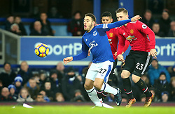 Nikola Vlasic of Everton goes past Luke Shaw of Manchester United - Mandatory by-line: Robbie Stephenson/JMP - 01/01/2018 - FOOTBALL - Goodison Park - Liverpool, England - Everton v Manchester United - Premier League