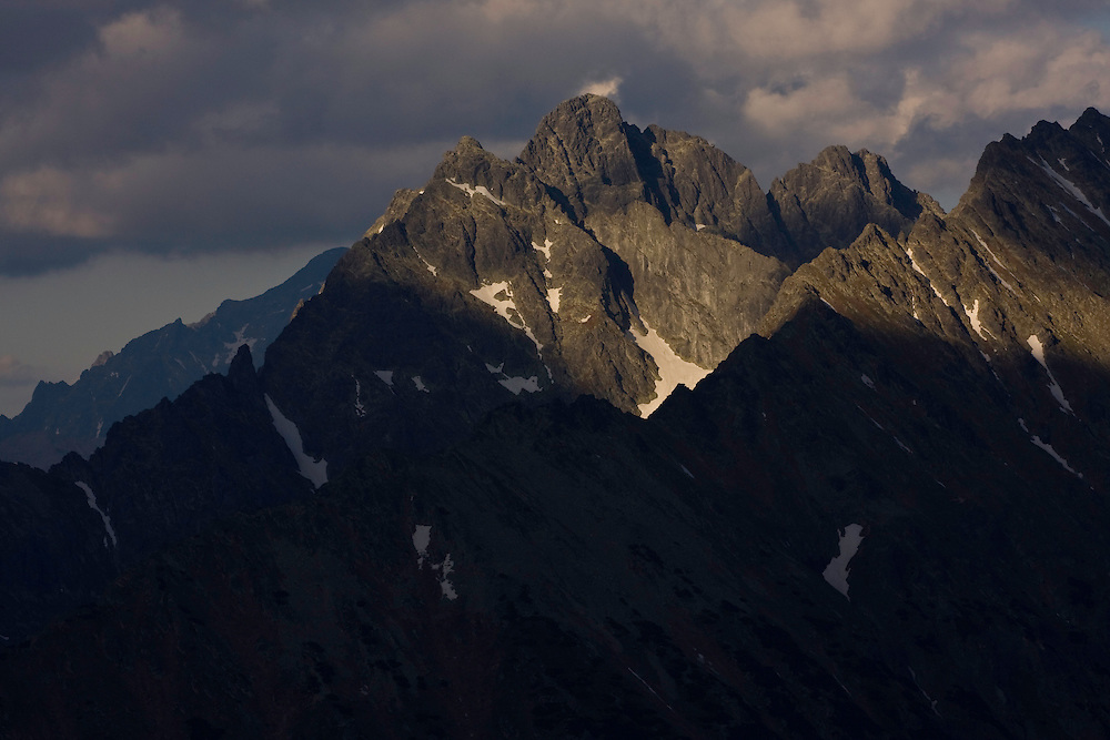 Mount Mengusovsky stit (2438m als) at sunset. High Tatras, Slovakia. June 2009. Mission: Ticha