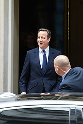 Downing Street, London, June 27th 2016. British Prime Minister David Cameron leaves 10 Downing Street to address Parliament following his Friday announcement that he is to step aside following the Brexit vote.