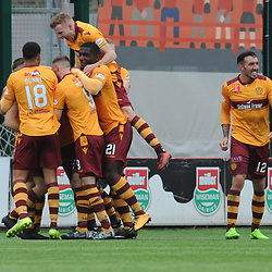 Peter Hartley is mobbed by his teammates after scoring in the match between Hamilton Accies v Motherwell, Ladbrokes Premiership, The Super Seal Stadium, Saturday 14 October 2017  (c) Angie Isac | SportPix.org.uk