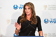 Caitlyn Jenner speaking at the Champions of Jewish Values International Awards Gala in New York City on March 8, 2018.
