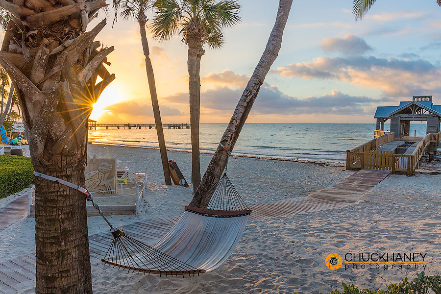 Hammock at sunrise at The Reach Resort in Key West, Florida, USA