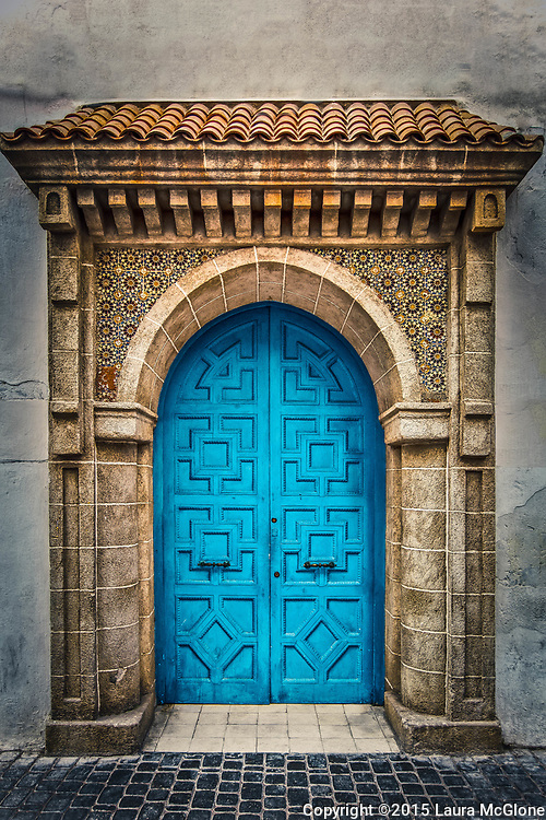Moroccan Doorway, Blue with stone & tile above, Essaouira Morocco