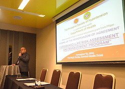 November 18, 2018 - Quezon City, Metro Manila, Philippines - The program emcee, Marvin Paulo Osea during the Cardiovascular risk assessment and management program signing of the memorandum of agreement. (Credit Image: © Robert Oswald Alfiler/Pacific Press via ZUMA Wire)
