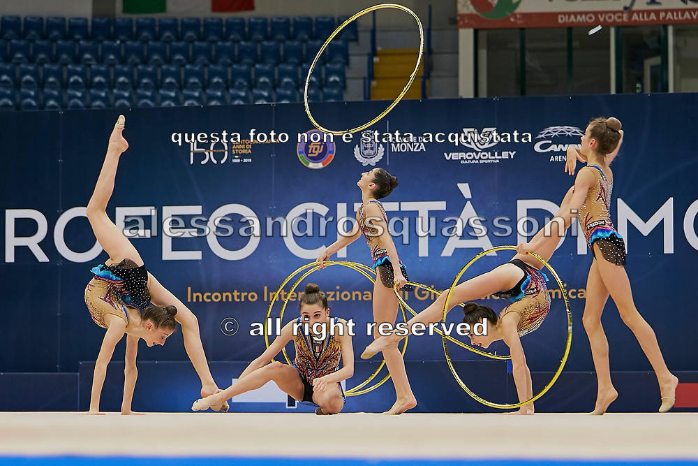 "Italian Junior Group during the ""1st Trofeo Citta di Monza"" tournament. On this occasion we have seen the rhythmic gymnastics teams of Belarus and Italy challenge each other. The Bilateral period was only June 9, 2019 at the Candy Arena in Monza, Italy."