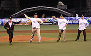 """MEXICO CITY - MARCH 10: Mexico baseball Hall of Fame members (left to right) Alfredo """"Zurdo"""" Ortiz, Arturo Gonzalez, Juan Jose Pacho, and Jose Domingo Setien throw out the celebratory first pitch at the Cuba Pool B, game four against Australia in the first round of the 2009 World Baseball Classic at Foro Sol Stadium in Mexico City, Mexico, Tuesday March 10, 2009. Cuba defeated Australia 5-4. (Photo by Paul Spinelli/WBCI/MLB Photos) *** Local Caption *** Alfredo Ortiz;Arturo Gonzalez;Juan Jose Pacho;Jose Domingo Setien"""