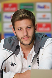 BORDEAUX, FRANCE - Wednesday, September 16, 2015: Liverpool's Adam Lallana during a press conference ahead of the UEFA Europa League Group Stage Group B match against FC Girondins de Bordeaux at the Nouveau Stade de Bordeaux. (Pic by David Rawcliffe/Propaganda)
