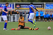 Kevin Lokko challenges Nathaniel Mendez-Laing during the The FA Cup match between Maidstone United and Rochdale at the Gallagher Stadium, Maidstone, United Kingdom on 6 November 2016. Photo by Daniel Youngs.