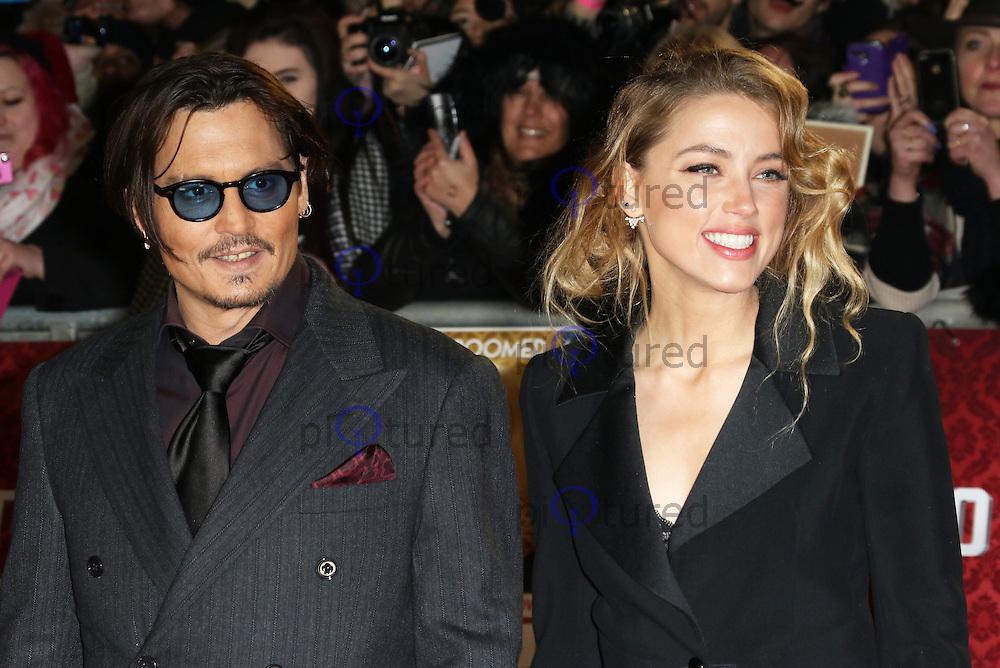 Johnny Depp, Amber Heard, Mortdecai - UK film premiere, Leicester Square, London UK, 19 January 2015, Photo by Richard Goldschmidt
