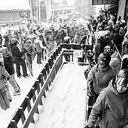 Skiers wait online for the next lap of the Jackson Hole Mountain Resort aerial tram.