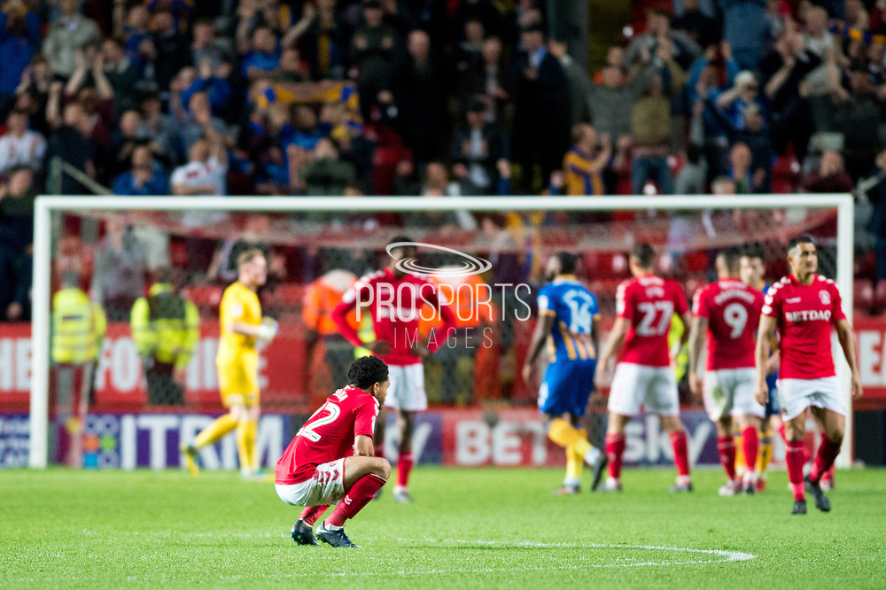 Final whistle at Charlton Jay Dasilva disappointed at their one nil defeat after the EFL Sky Bet League 1 match between Charlton Athletic and Shrewsbury Town at The Valley, London, England on 10 May 2018. Picture by Robin Pope.