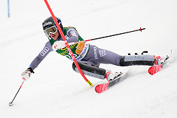 January 7, 2018 - Kranjska Gora, Gorenjska, Slovenia - Adeline Baud Mugnier of France competes on course during the Slalom race at the 54th Golden Fox FIS World Cup in Kranjska Gora, Slovenia on January 7, 2018. (Credit Image: © Rok Rakun/Pacific Press via ZUMA Wire)