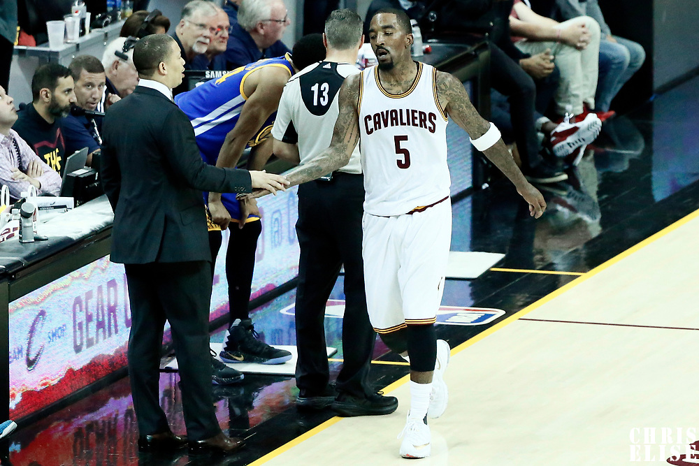 07 June 2017: Cleveland Cavaliers head coach Tyronn Lue is seen with Cleveland Cavaliers guard JR Smith (5) during the Golden State Warriors 118-113 victory over the Cleveland Cavaliers, in game 3 of the 2017 NBA Finals, at  the Quicken Loans Arena, Cleveland, Ohio, USA.