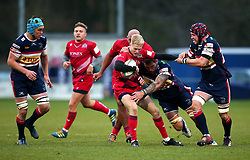 Mat Protheroe of Bristol Rugby is tackled - Mandatory by-line: Robbie Stephenson/JMP - 02/12/2017 - RUGBY - Castle Park - Doncaster, England - Doncaster Knights v Bristol Rugby - Greene King IPA Championship