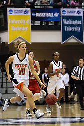 20 March 2010: With ball in hand, Jenny Cowen leads the layers up the court. The Flying Dutch of Hope College fall to the Bears of Washington University 65-59 in the Championship Game of the Division 3 Women's NCAA Basketball Championship the at the Shirk Center at Illinois Wesleyan in Bloomington Illinois.