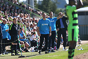 Forest Green Rovers manager, Mark Cooper and Forest Green Rovers assistant manager, Scott Lindsey shoot instructions during the Vanarama National League Play Off second leg match between Forest Green Rovers and Dagenham and Redbridge at the New Lawn, Forest Green, United Kingdom on 7 May 2017. Photo by Shane Healey.
