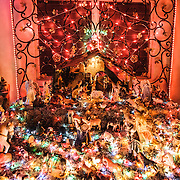 The bright lights of a Christmas nativity diorama on display at a house in Playa del Carmen, Mexico.