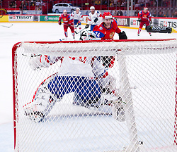 17.05.2012, Ericsson Globe, Stockholm, SWE, IIHF, Eishockey WM, Viertelfinale, Russland (RUS) vs Norwegen (NOR), im Bild Russia 24 Alexander Popov (Avangard Omsk) scores behind Norway 30 Goalkeeper Lars Haugen (Shakhtyor Soligorsk) // during the IIHF Icehockey World Championship Quarter Final Game between Russia (RUS) and Norway (NOR) at the Ericsson Globe, Stockholm, Sweden on 2012/05/17. EXPA Pictures © 2012, PhotoCredit: EXPA/ PicAgency Skycam/ Johan Andersson..***** ATTENTION - OUT OF SWE *****