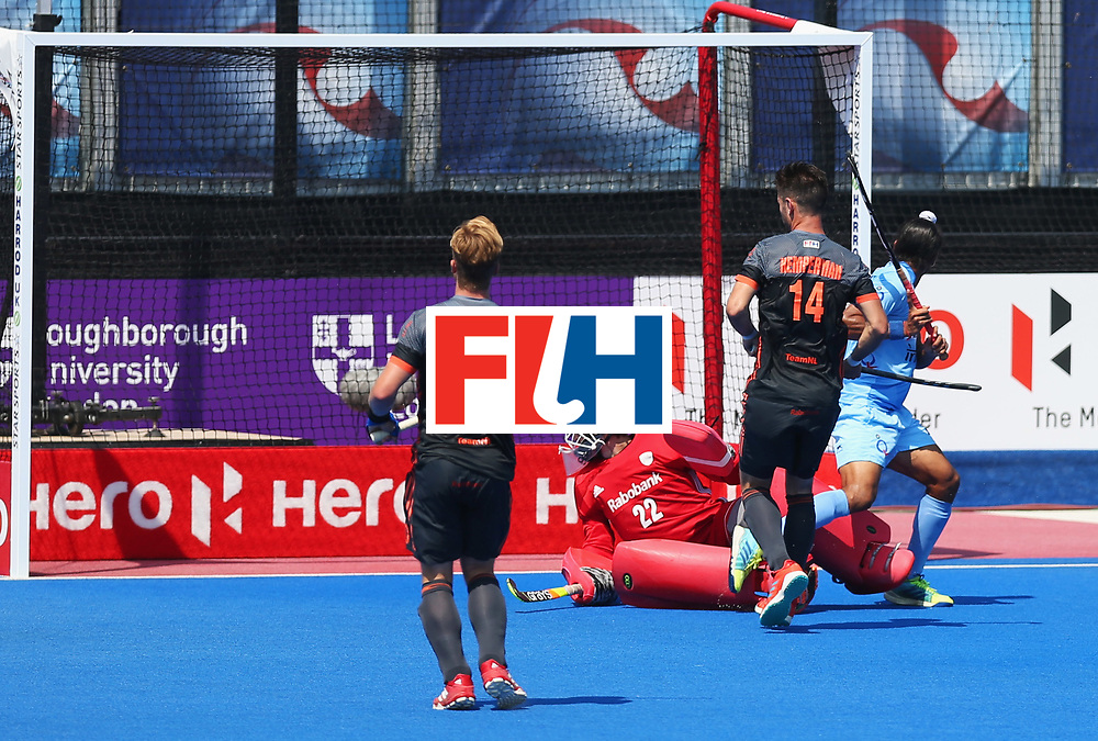 LONDON, ENGLAND - JUNE 20:  Akashdeep Singh of India (R) scores their first goal during the Pool B match between India and the Netherlands on day six of the Hero Hockey World League Semi-Final at Lee Valley Hockey and Tennis Centre on June 20, 2017 in London, England.  (Photo by Alex Morton/Getty Images)