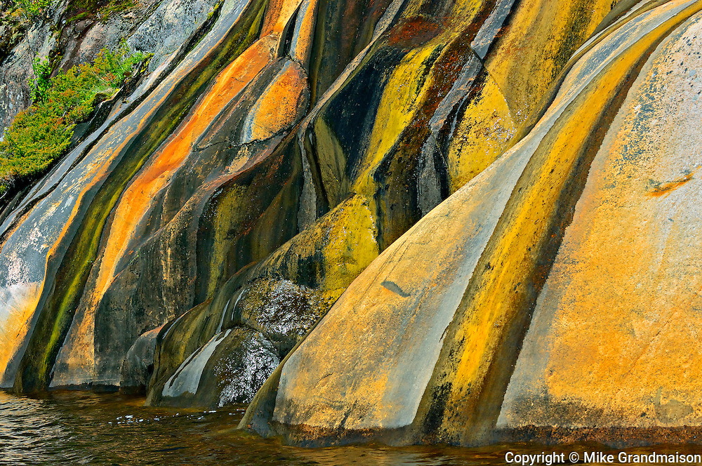 Rock face stained with runoff water<br /> Key River<br /> Ontario<br /> Canada