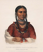 Eagle of Delight, or Hayne Hudjihini, 1795-1822, 1 of the 5 wives of Chief Shaumonekusse of the Otoe tribe in present-day Nebraska, hand-coloured lithograph, 1833, by Cephas G Childs, 1793-1871, American artist, after an original painting by Charles Bird King, 1785-1862, American artist, from the William Sr and Dorothy Harmsen Collection, in the Denver Art Museum, Denver, Colorado, USA. The original painting was commissioned by the Bureau of Indian Affairs after Eagle of Delight accompanied her husband and other Indian chiefs to Washington DC to meet with President James Monroe. The lithograph was published in History of the Indian Tribes of North America, published 1844. Picture by Manuel Cohen