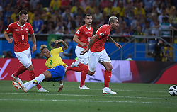 ROSTOV-ON-DON, June 17, 2018  Neymar (2nd L) of Brazil falls down during a group E match between Brazil and Switzerland at the 2018 FIFA World Cup in Rostov-on-Don, Russia, June 17, 2018. (Credit Image: © Li Ga/Xinhua via ZUMA Wire)
