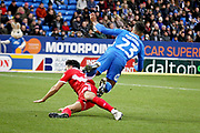 Peterborough Utd defender Tyler Denton (23) is fouled by Scunthorpe Utd midfielder Levi Sutton (22) during the EFL Sky Bet League 1 match between Peterborough United and Scunthorpe United at London Road, Peterborough, England on 1 January 2019.