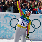 Winter Olympics, Vancouver, 2010.Maria Riesch, Germany, winning the Gold Medal,  in action in the Alpine Skiing Ladies Super Combined competition at Whistler Creekside, Whistler, during the Vancouver Winter Olympics. 18th February 2010. Photo Tim Clayton