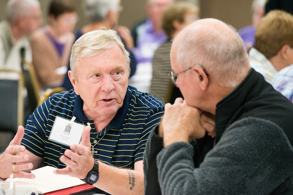 Robert Beattie chats with a participant during The 72 Witness & Outreach Team Training on Thursday, Sept. 11, 2014, at the National Shrine of Our Lady of the Snows in Belleville, Ill. LCMS Communications/Erik M. Lunsford