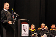 Craig Spencer, from the class of 1992, delivers the commencement address during the 142nd annual Lebanon High School commencement at the Nutter Center in Fairborn, Saturday, May 26, 2012.