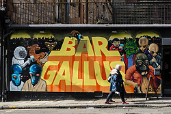 External view of mural on wall of Bar Gallus in Glasgow West End, Scotland, United Kingdom