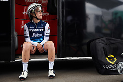 Letizia Paternoster (ITA) waits on the bus steps at Boels Ladies Tour 2019 - Prologue, a 3.8 km individual time trial at Tom Dumoulin Bike Park, Sittard - Geleen, Netherlands on September 3, 2019. Photo by Sean Robinson/velofocus.com
