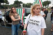 Roma 7 Giugno 2011.Piazza Bocca della Verita'.Sciopero dei tassisti proclamato da 7 sigle sindacali che chiedono il cambiamento del regolamento comunale in via di approvazione in Campidoglio. Tassiste donne