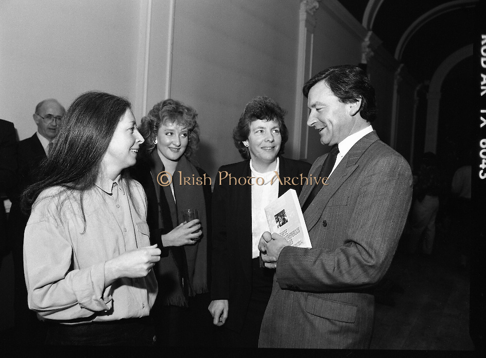 """These Obstreperous Lassies"" Book Launch.  (R93)..1988..15.12.1988..12.15.1988..15th December 1988..A book which chronicles an important aspect of Irish social history was launched in Larkin Hall. ""These Obstreperous Lassies"" written and researched by Mary Jones, details the seventy three years of the Irish Women Workers Union and of the women who were involved in the union..With Countess Markievicz as its first president, The Union began the fight for equal pay and fair treatment under the leadership of women like helen Chenevix, Louise Bennett and Helena Molloy. They fought for the rights of vulnerable workers such as Laundresses,print workers,box makers,nurses and dressmakers..The Author, Mary Jones, is a full time researcher specialising in Women and Work...Picture shows the Author Mary Jones, Martina Robertson,Dept of Labour, Padraigin Ni Murchú, Past Gen Secretary,Women's Workers Union and John Horgan, Chairman of the Labour Court at the launch of the book ""These Obstreperous Lassies""."