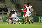 Halani Aulika tackles during the European Rugby Challenge Cup match between Sale Sharks and Toulouse at the AJ Bell Stadium, Eccles, United Kingdom on 13 October 2017. Photo by George Franks.